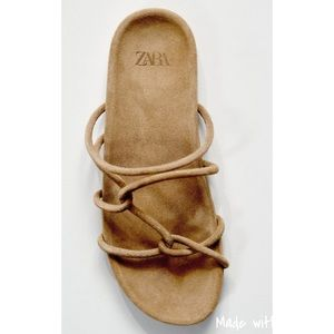 Zara gladiator tubular strap suede sandals NWT